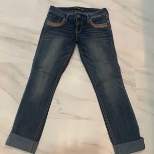 Express ankle skinny stella low rise jeans.